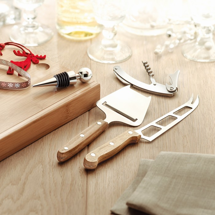 Branded Cheese and wine set