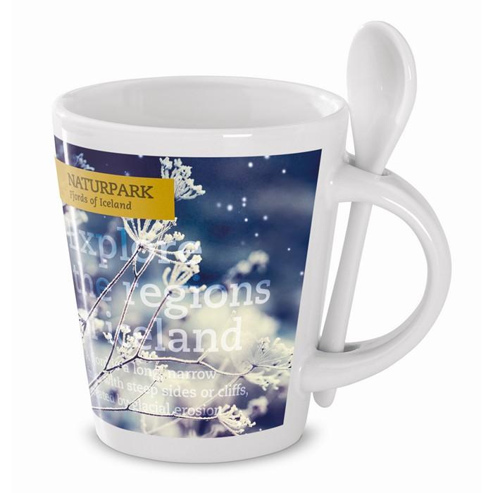 Embellished Sublimation mug with spoon