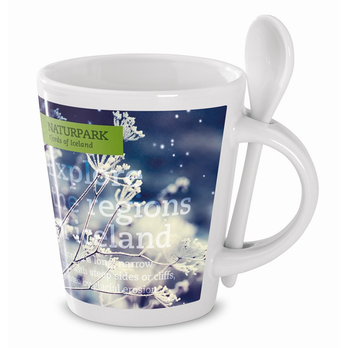 Engraved Sublimation mug with spoon