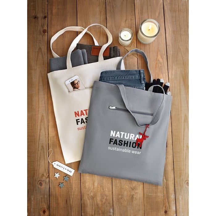 Branded Shopping Bag In Canvas