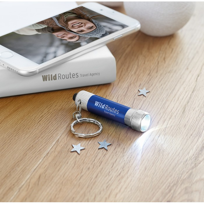 Printed Aluminium torch with key ring