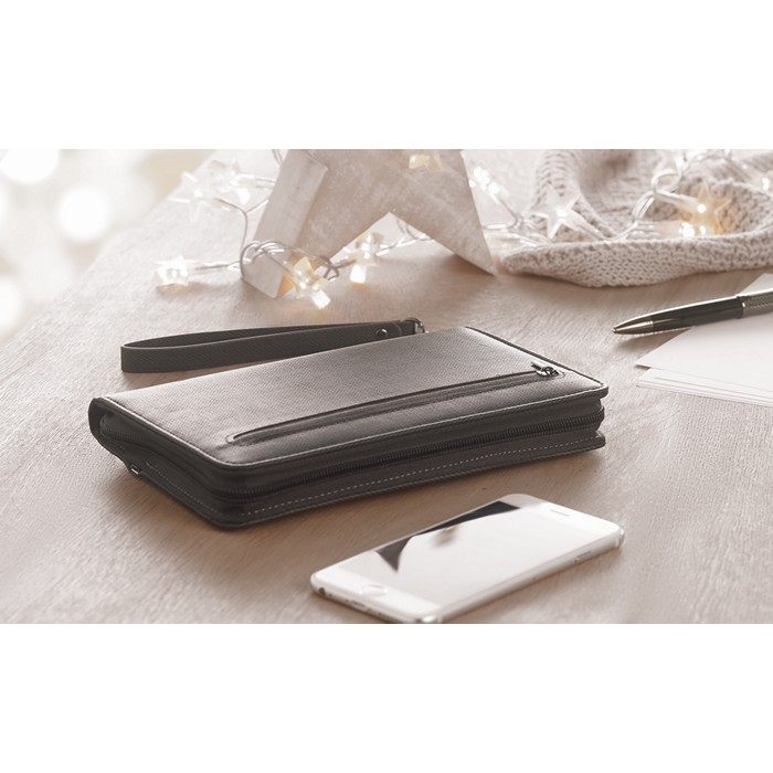 Promotional PU organizer with power bank