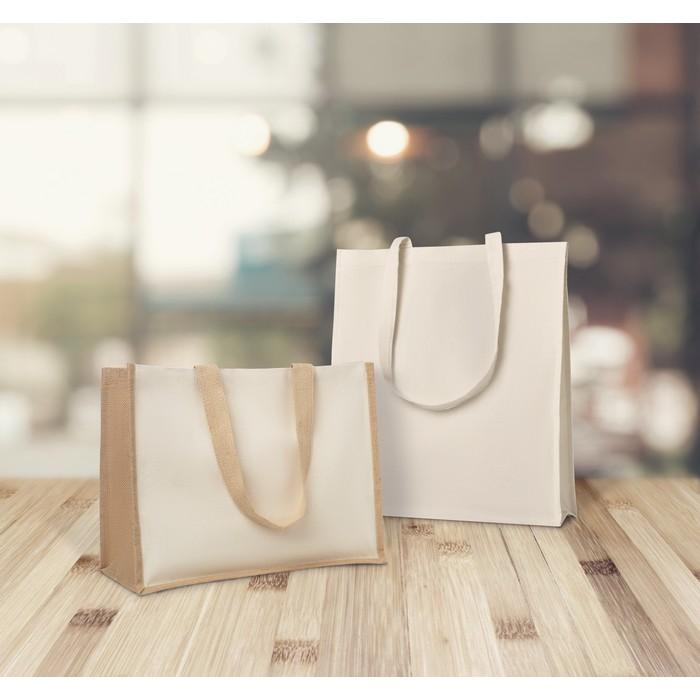 Embellished Jute and canvas shopping bag