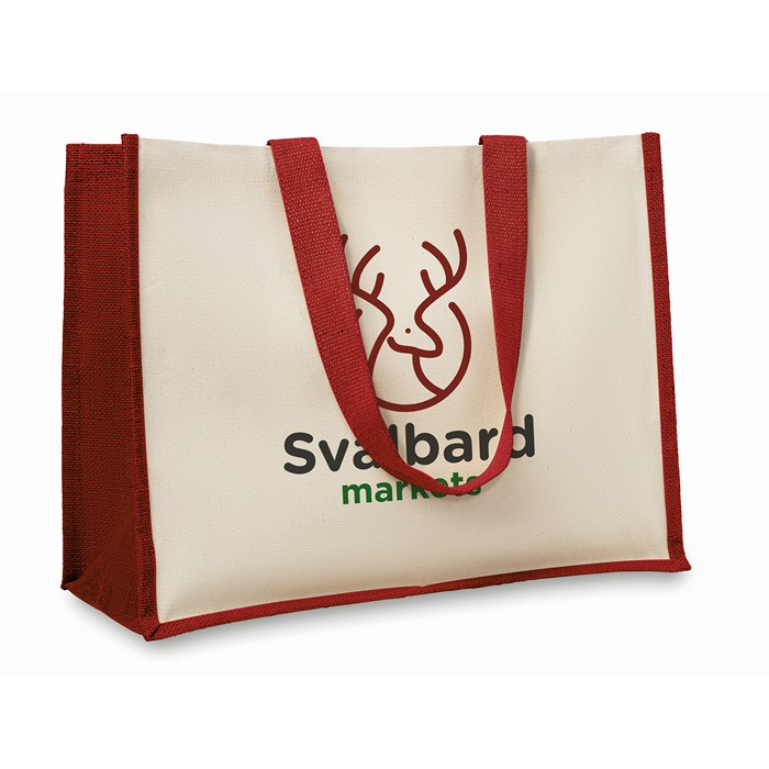 Printed Jute and canvas shopping bag