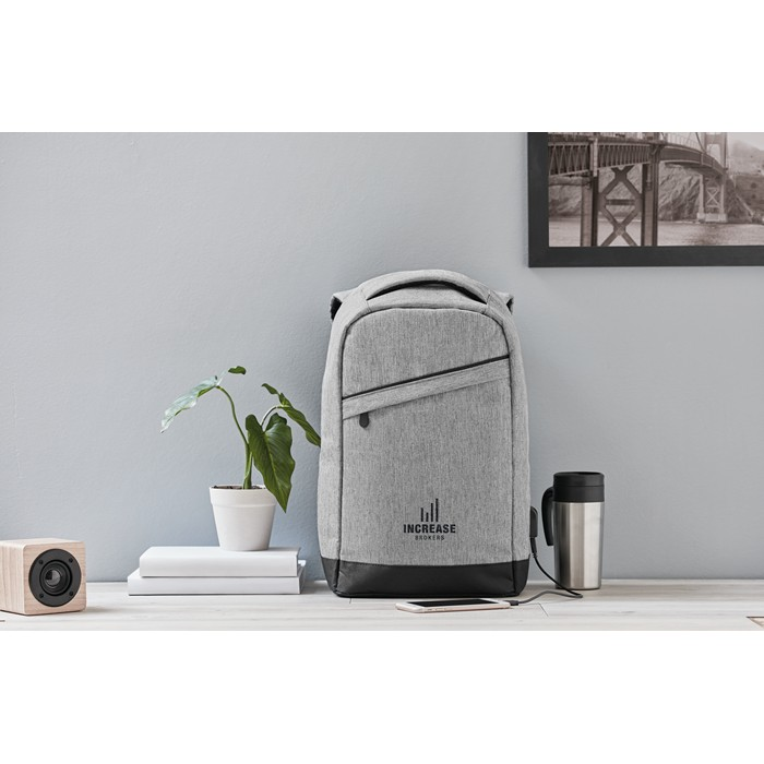 Custom Promotional backpacks 2 tone backpack incl USB plug