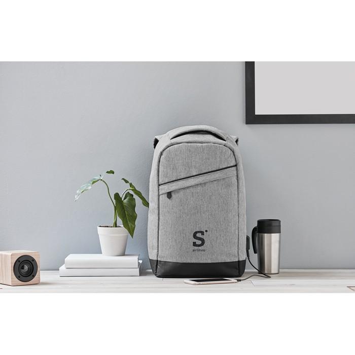 Printed Promotional backpacks 2 tone backpack incl USB plug