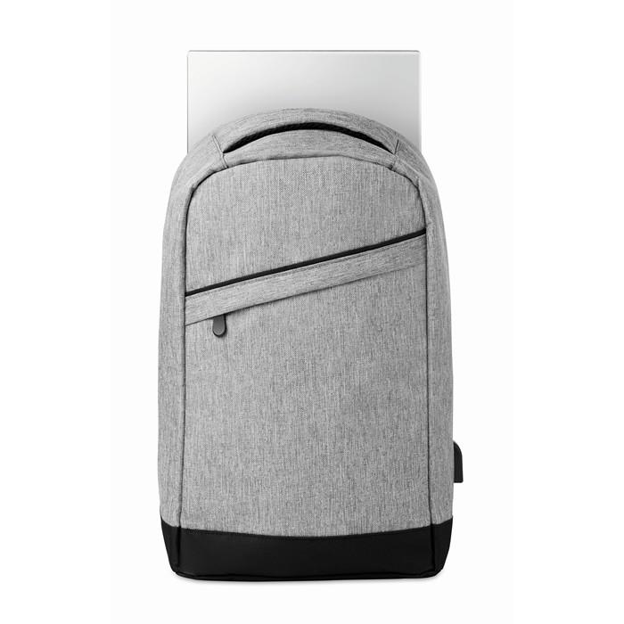 Printed Corporate backpacks 2 tone backpack incl USB plug
