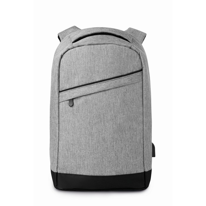 Branded Personalised backpacks 2 tone backpack incl USB plug
