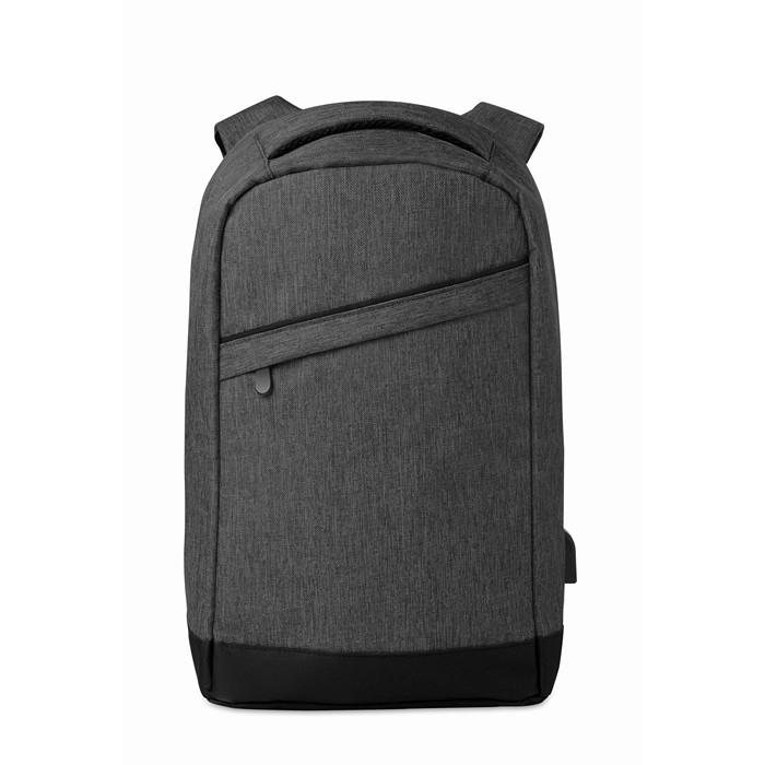 Printed 2 tone backpack incl USB plug