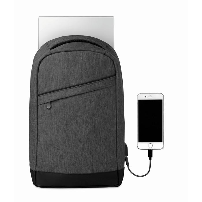 Business 2 tone backpack incl USB plug